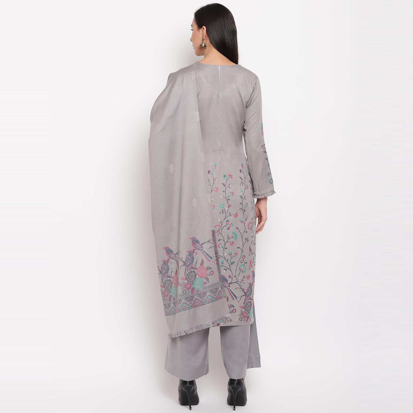 HK Colors Of Fashion - Grey Colored Woven Design Acrylic Wool Blend Dress Material