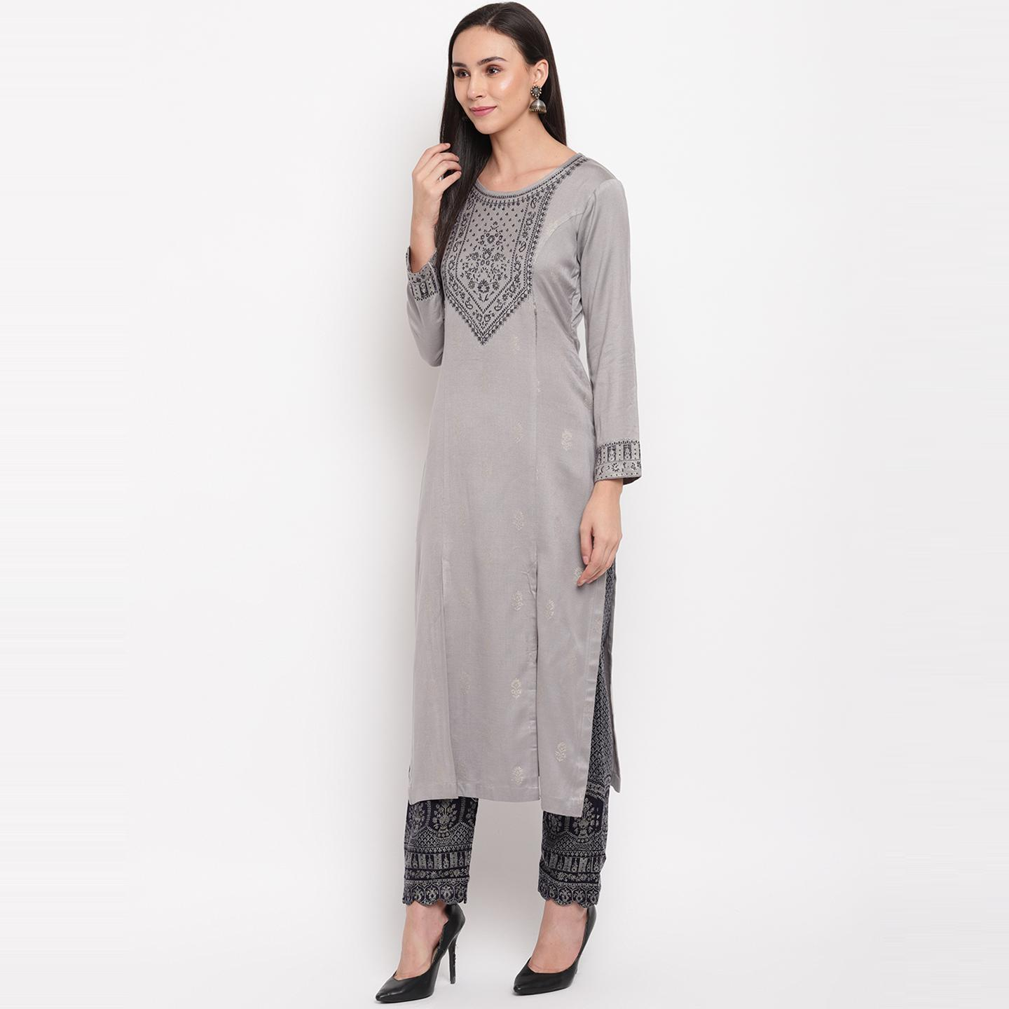 HK Colors Of Fashion - Grey Colored Liva Acrylic Wool Blend Dress Material