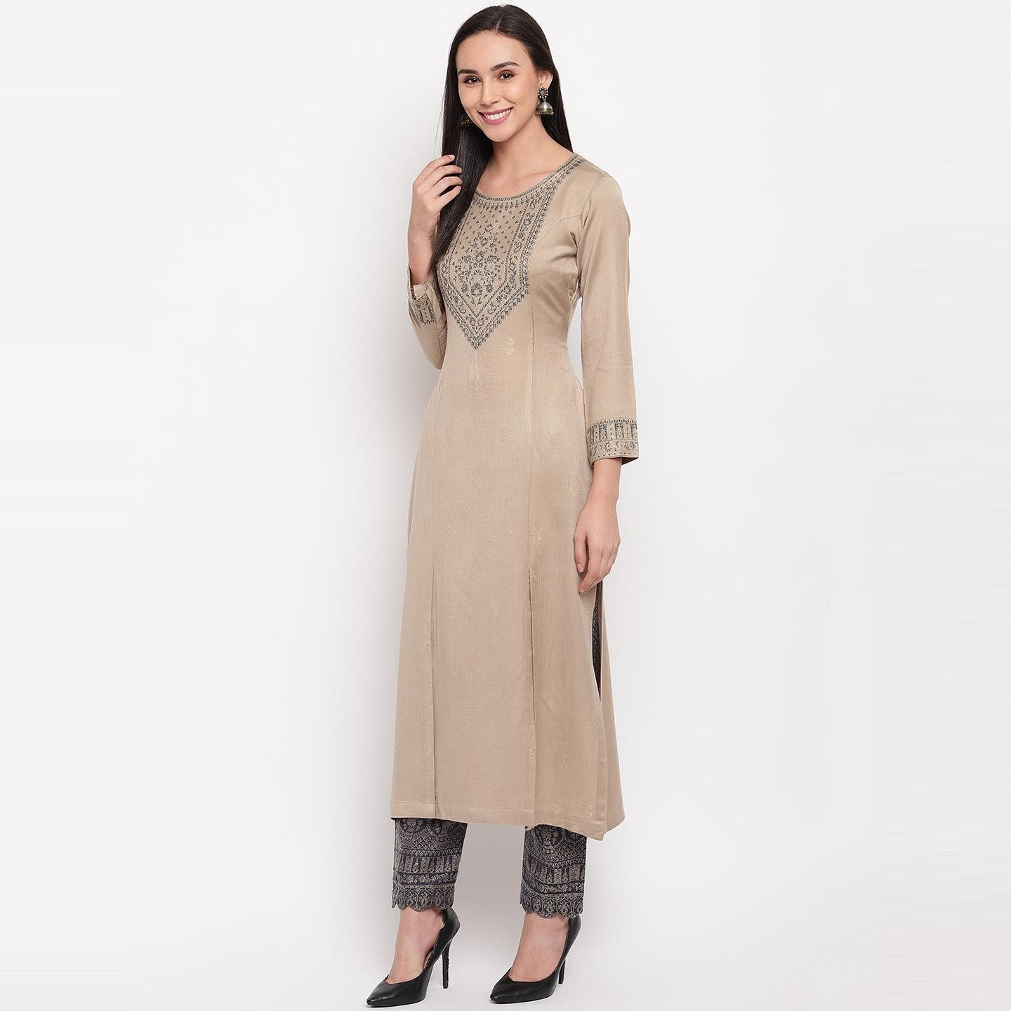 HK Colors Of Fashion - Beige Colored Liva Acrylic Wool Blend Dress Material