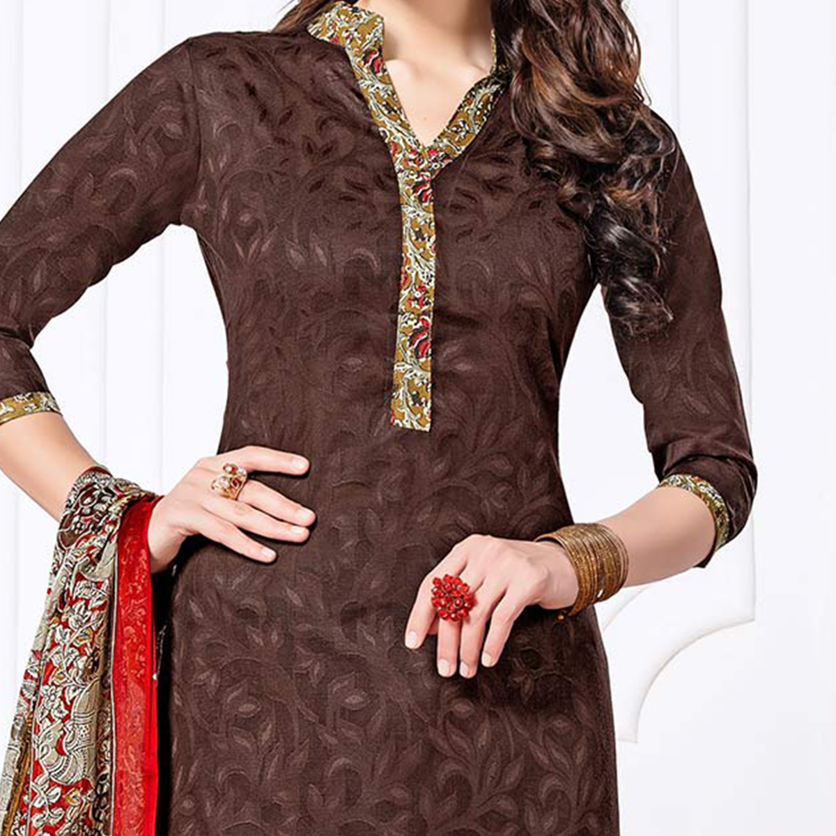 Brown Casual Printed Cotton Blend Patiala Suit