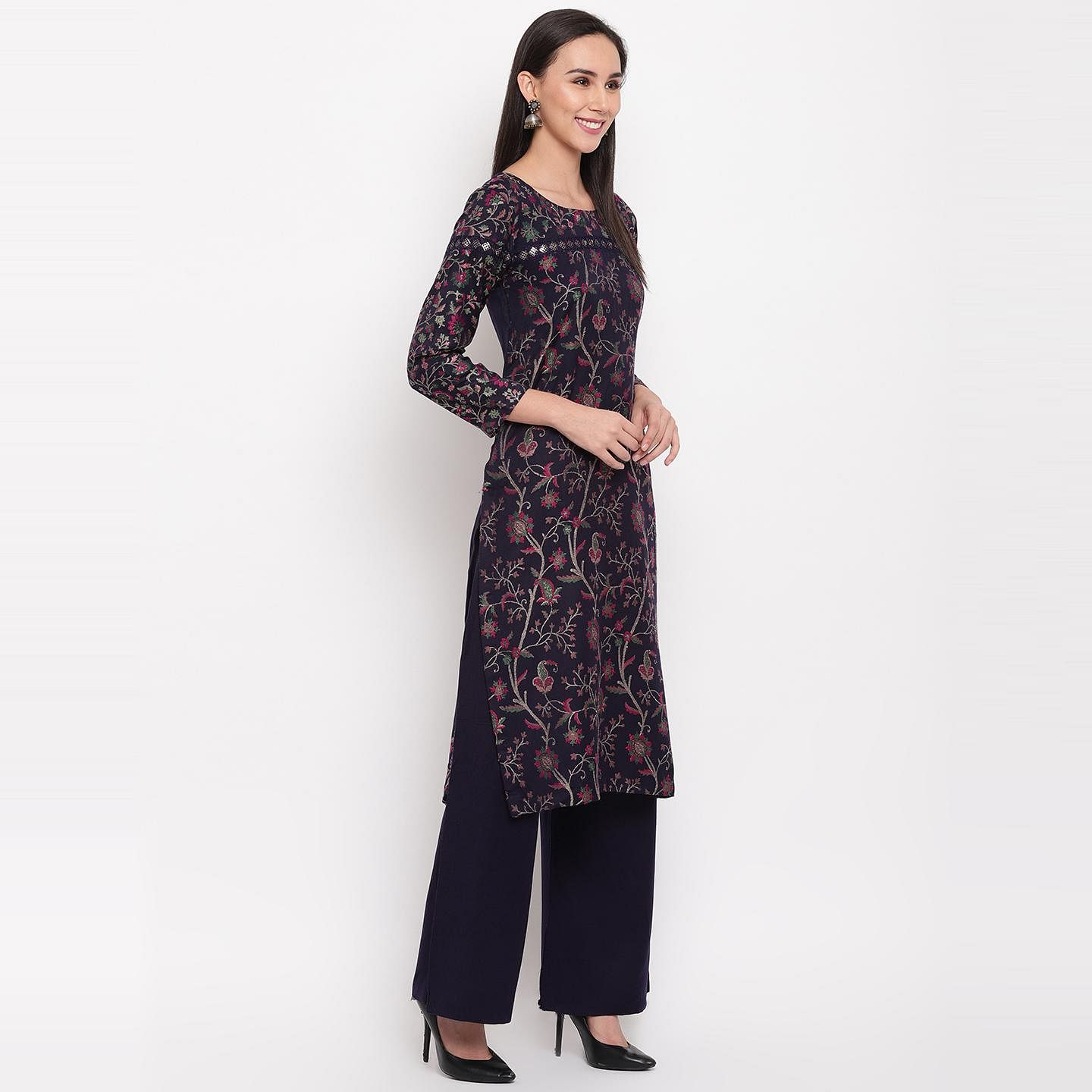 HK Colors Of Fashion - Navy Blue Colored Liva Acrylic Wool Blend Dress Material