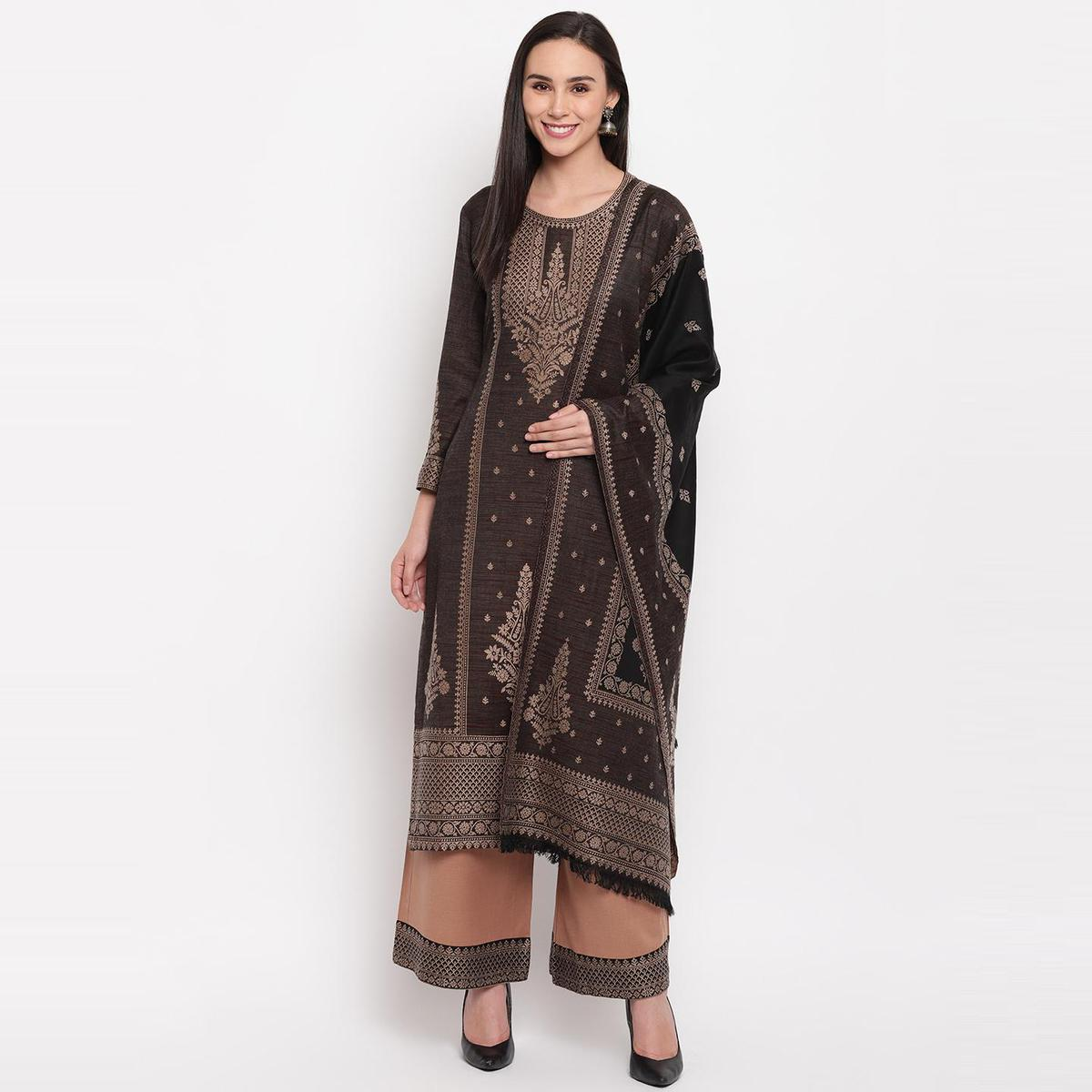 HK Colors Of Fashion - Coffee Brown Colored Khadi Look Woven Design Acrylic Wool Blend Dress Material