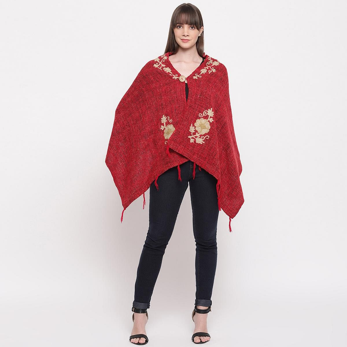HK Colors Of Fashion - Red Colored Casual Woolen Shrug