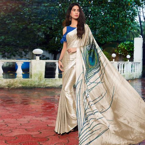 Adorable Offwhite - Blue Colored Festive Wear Printed Satin Silk Saree