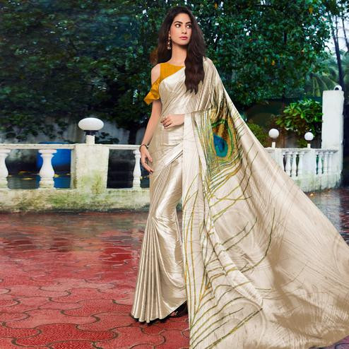 Glorious Offwhite - Yellow Colored Festive Wear Printed Satin Silk Saree