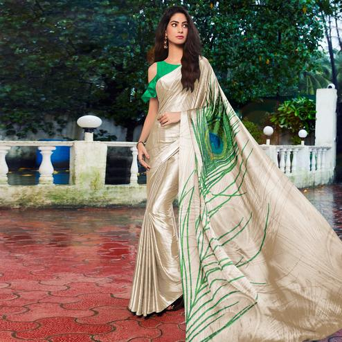 Attractive Offwhite - Green Colored Festive Wear Printed Satin Silk Saree