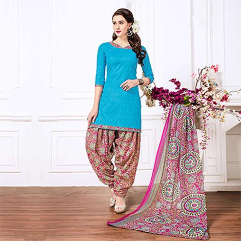Sky Blue - Pink Casual Printed Cotton Blend Patiala Suit