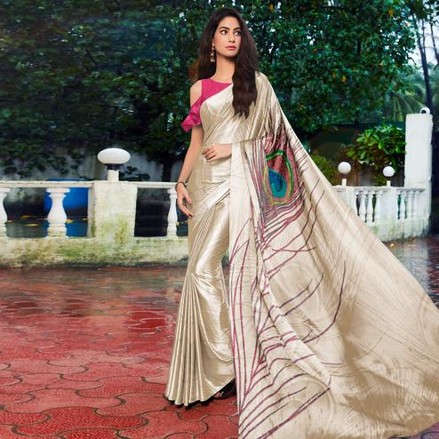 Charming Offwhite - Pink Colored Festive Wear Printed Satin Silk Saree
