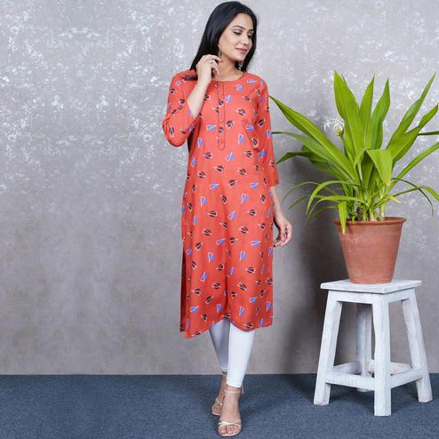 Aariya Designs - Rust Orange Colored Casual Wear Geometric Printed Rayon Kurti