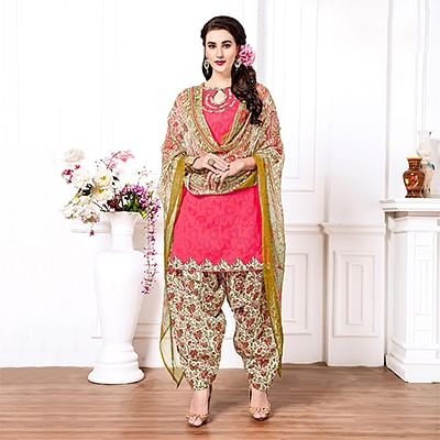 Pink - Cream Casual Printed Cotton Blend Patiala Suit