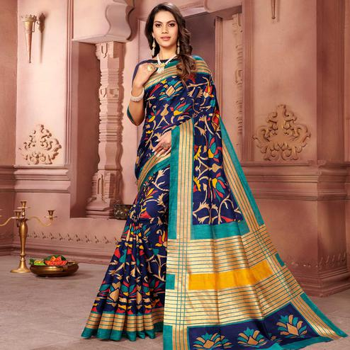 Exotic Navy Blue Colored Partywear Printed Art Silk Saree