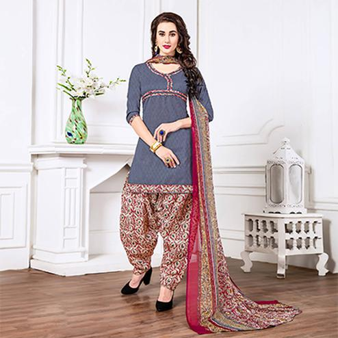Grey - Maroon Casual Printed Cotton Blend Patiala Suit