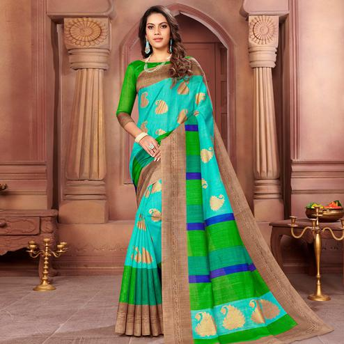 Trendy Turquoise Green Colored Partywear Printed Art Silk Saree