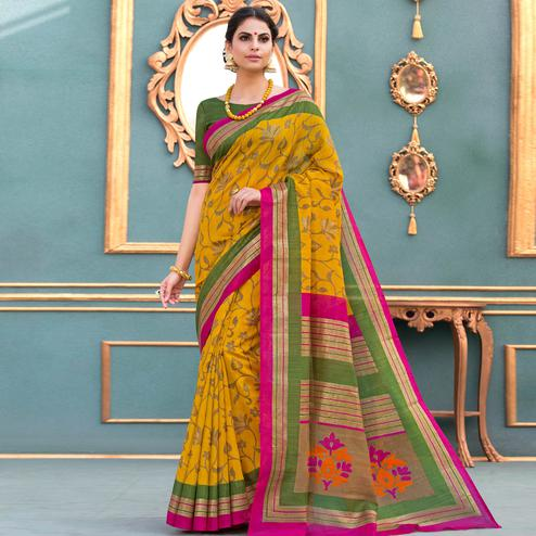 Opulent Mustard Yellow Colored Partywear Printed Art Silk Saree