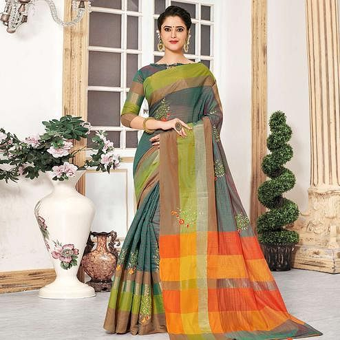 Lovely Turquoise Green Colored Festive Wear Embroidered Cotton Silk Saree