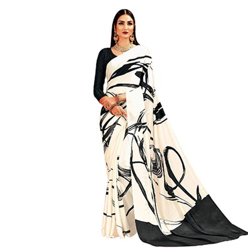Cream - Black Casual Printed Crape Silk Saree