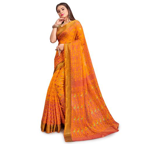 Energetic Yellow Colored Festive Wear Woven Two Tone Brasso Saree