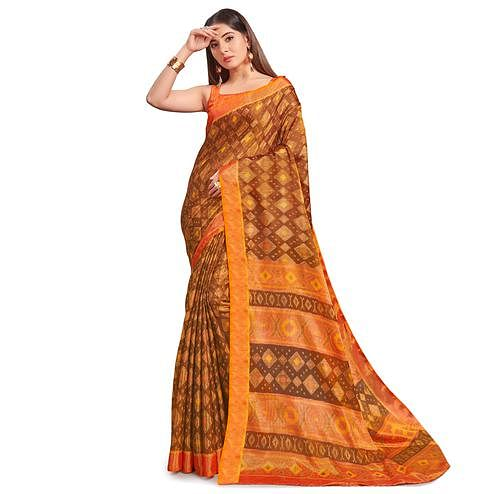 Glowing Brown - Orange Colored Festive Wear Woven Two Tone Brasso Saree