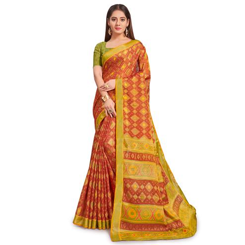 Exceptional Rust - Green Colored Festive Wear Woven Two Tone Brasso Saree