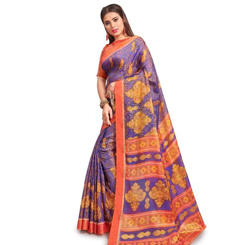 Gleaming Violet Colored Festive Wear Woven Two Tone Brasso Saree