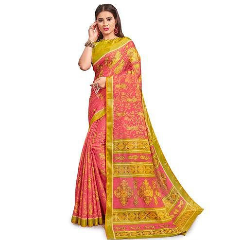 Unique Pink Colored Festive Wear Woven Two Tone Brasso Saree