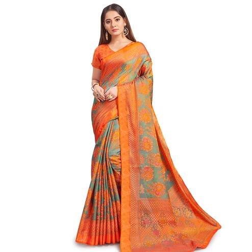 Demanding Grey Colored Festive Wear Woven Two Tone Brasso Saree