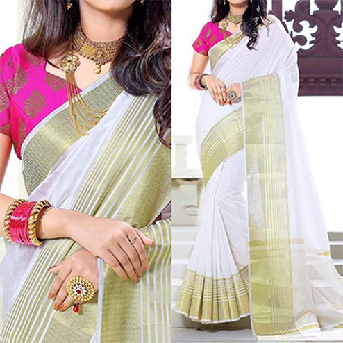 White Weaving Work Silk Saree with Pink Jacquard Blouse
