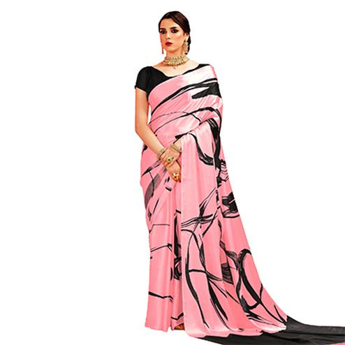 Soft Pink Casual Printed Crape Silk Saree