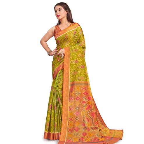 Hypnotic Green Colored Festive Wear Woven Two Tone Brasso Saree
