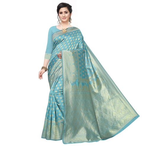 Flattering Firozi Colored Festive Wear Woven Art Silk Saree