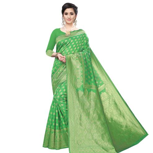 Marvellous Green Colored Festive Wear Woven Art Silk Saree