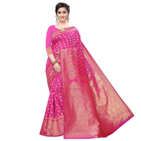Flamboyant Pink Colored Festive Wear Woven Art Silk Saree