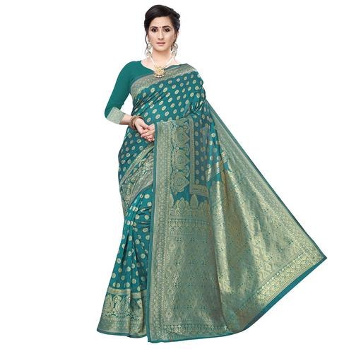 Pretty Rama Green Colored Festive Wear Woven Art Silk Saree