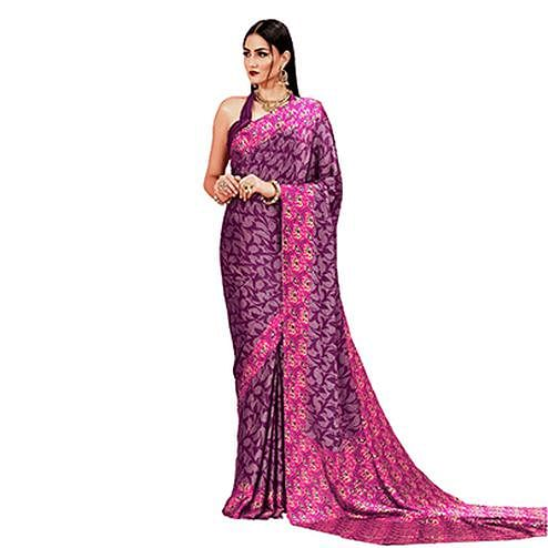Wine Casual Printed Crape Silk Saree
