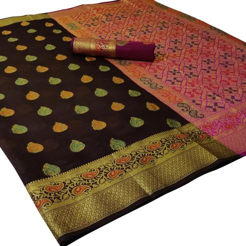 Ideal Coffee Brown Colored Festive Wear Woven Cotton Saree