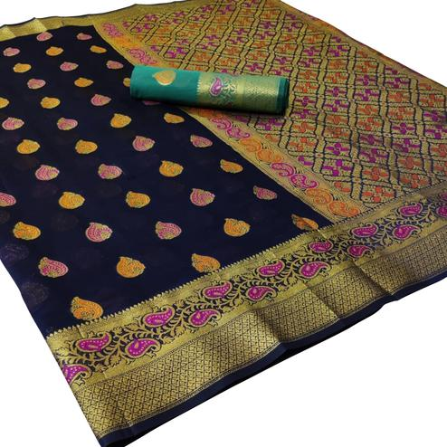 Majesty Navy Blue Colored Festive Wear Woven Cotton Saree