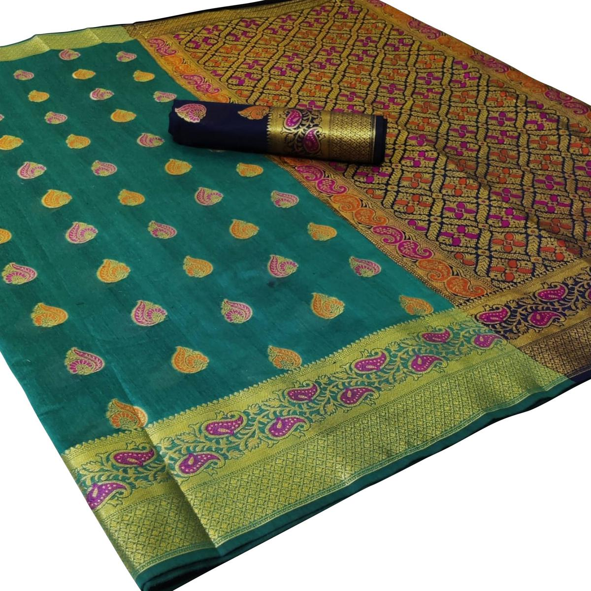 Impressive Turquoise Green Colored Festive Wear Woven Cotton Saree