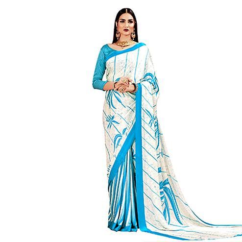 Cream - Blue Casual Printed Crape Silk Saree