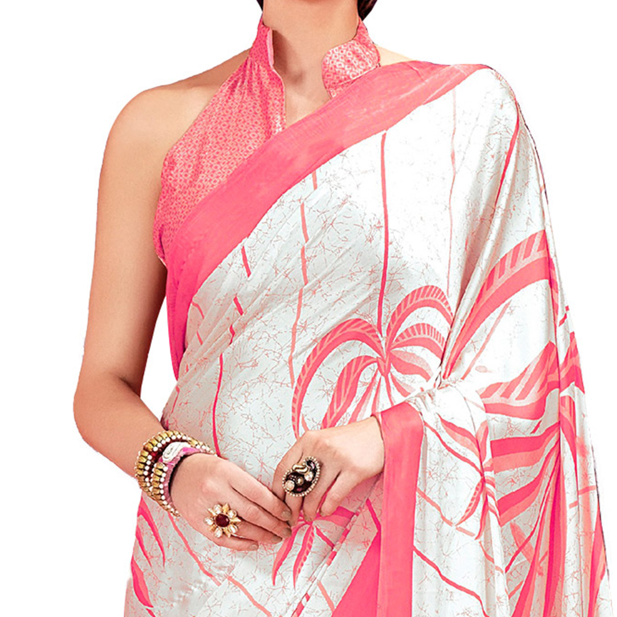 Cream - Pink Casual Printed Crape Silk Saree