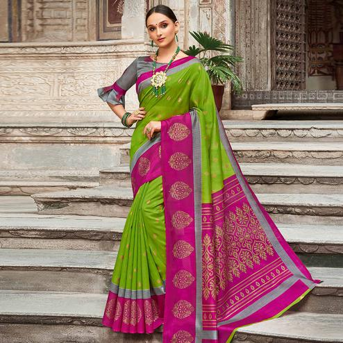 Energetic Green - Pink Colored Festive Wear Woven Silk Saree