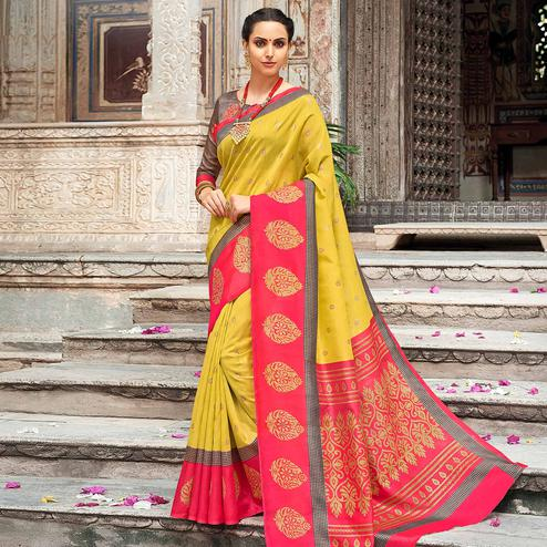 Exceptional Mustard Yellow Colored Festive Wear Woven Silk Saree