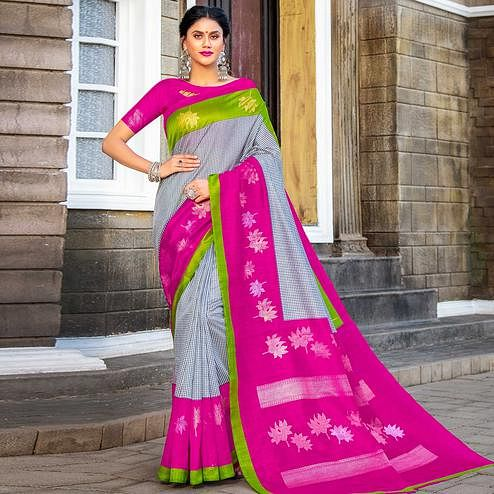 Gleaming Grey - Pink Colored Festive Wear Woven Silk Saree