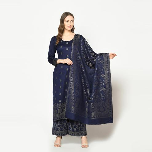Safaa - Navy Blue Colored Party Wear Zari Woven Print Acro Wool Dress Material