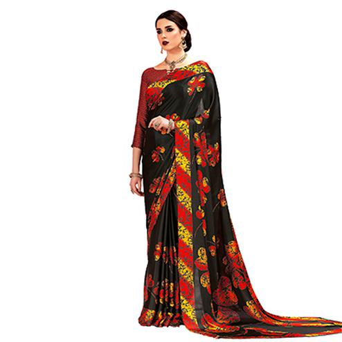 Black - Red Casual Printed Crape Silk Saree