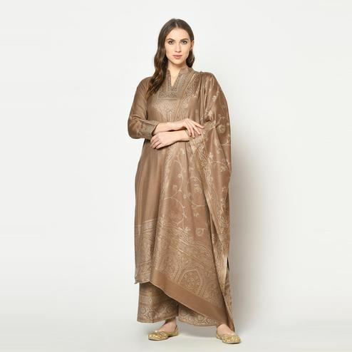 Safaa - Brown Colored Party Wear Zari Woven Print Acro Wool Dress Material