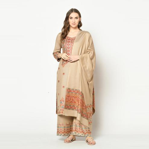 Safaa - Beige Colored Party Wear Zari Woven Print Acro Wool Dress Material