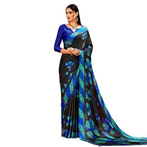 Black - Blue Casual Printed Crape Silk Saree