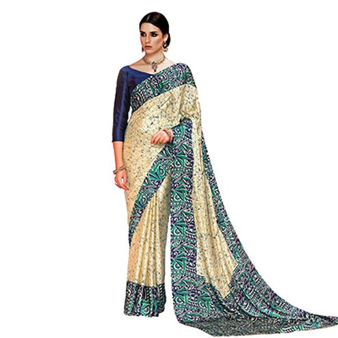 Beige - Green Casual Printed Crape Silk Saree