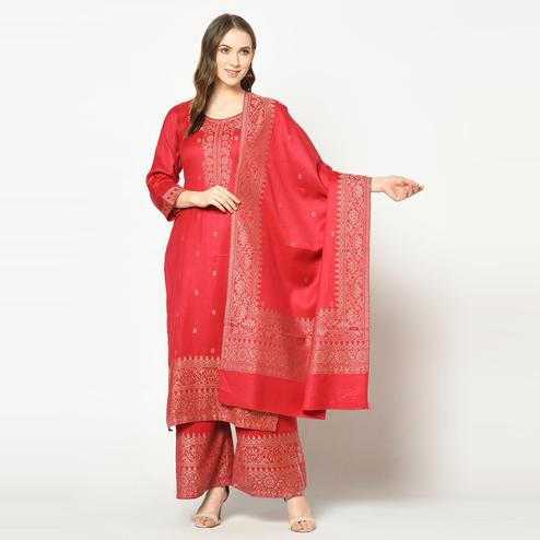 Safaa - Red Colored Party Wear Zari Woven Print Poly Wool Dress Material