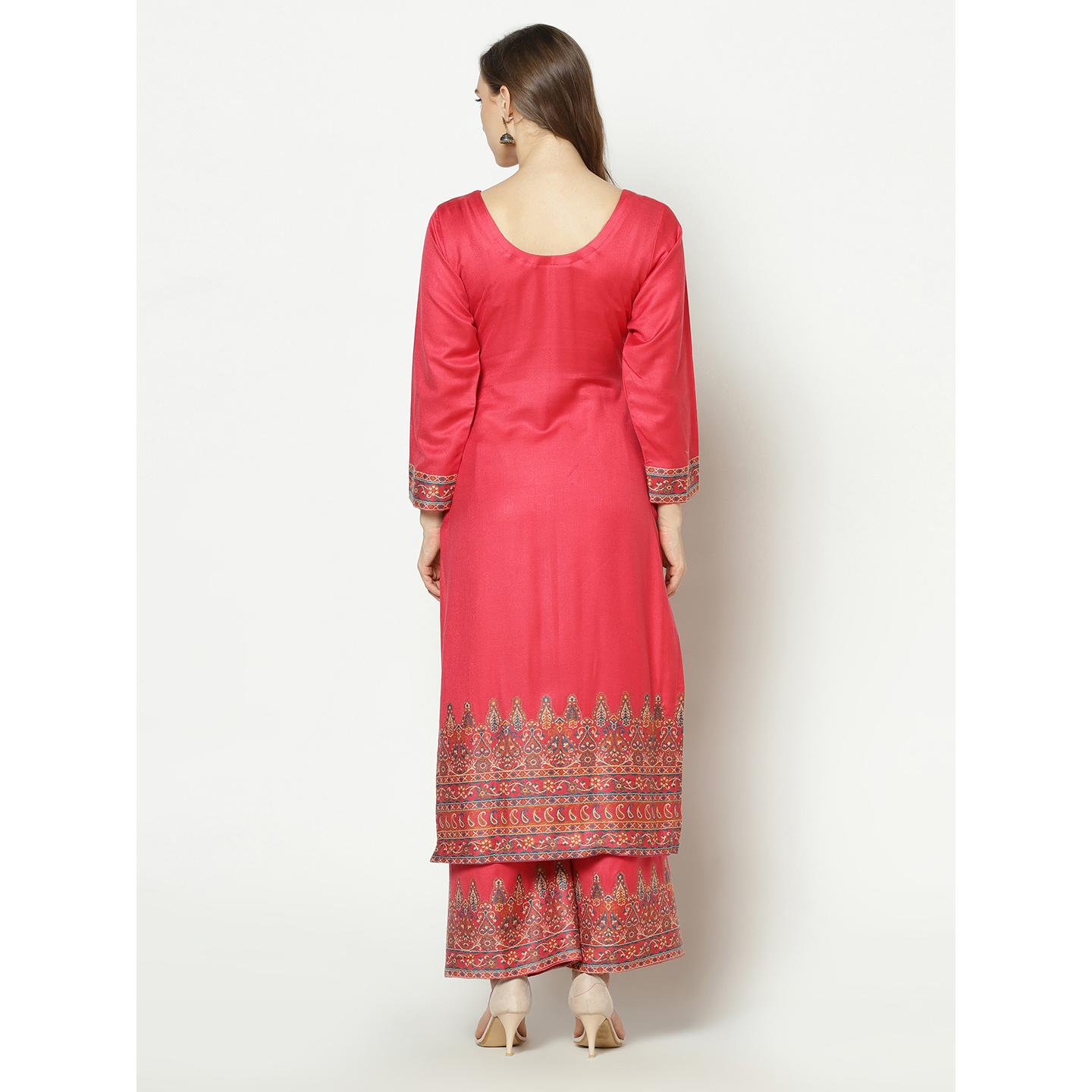 Safaa - Red Colored Party Wear Zari Woven Print Acro Wool Dress Material